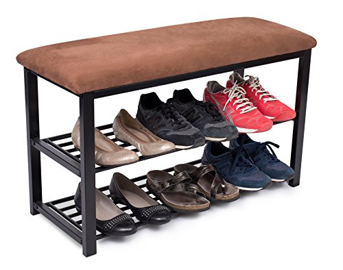 (BIRDROCK HOME Storage Shoe Rack Bench for Entryway | Brown | Cushion Seat | Metal | Entrance Sitting | Shoe Holder | Front Door Organizer | Home Storage)