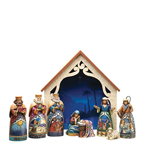 (Jim Shore Heartwood Creek 9-Piece Mini Nativity Set Stone Resin Figurine, 9.75