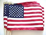 WindStrong® Lot of -12-8×12 Inch US American Hand Held Stick Flags Sewn Edges with Spear Tip