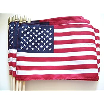 """wholesale lot of 60-8/"""" x 10/"""" USA American Flag wholesale only 25 cents each"""
