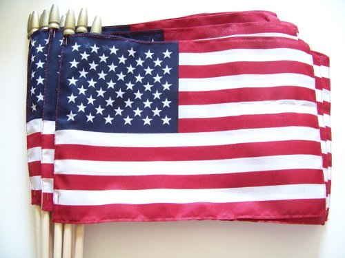 WindStrong® Lot of -12-8x12 Inch US American Hand Held Stick Flags Sewn Edges with Spear Tip