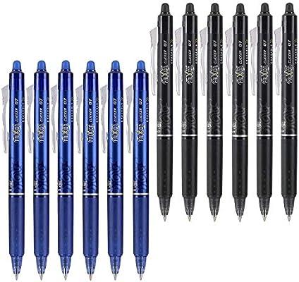 Pack Of 6 New Black Ink Fine Point Erasable Gel Pens Pilot FriXion Clicker 0.7mm