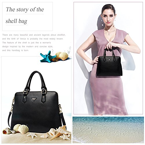 Shoulder Women Black Bag Satchel Leather Designer 2 Tote black Handbags Purse CLUCI for FwxIz4qB
