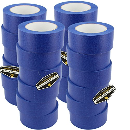 24 Rolls of Mighty Gadget (R) Professional Painters Tape for Interior and Exterior uses - Blue Color (1.88 in. x 60 Yards) by Mighty Gadget