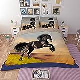 RuiHome 4-Piece Polyester Bedding Full Size Duvet Cover Set for Teens Kids Bedroom College Dorm Room, Black Horse Print