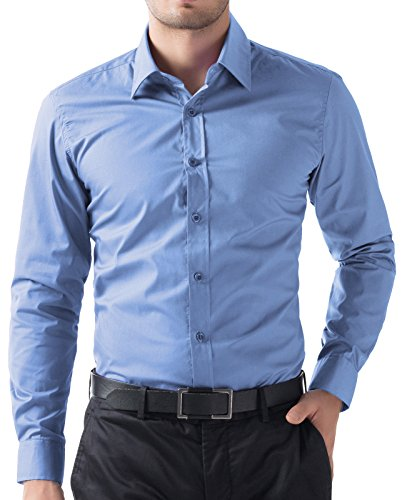 PAUL JONES Slim Fit Dress Shirt For Men Button-up Business Casual Shirt (Blue, L) Blue Formal Shirt