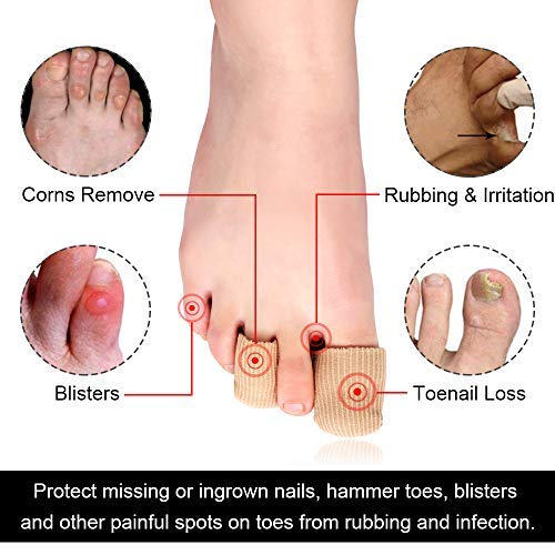 SQHT 8 Pack Gel Toe Caps and Protector Toe Sleeves for Corns, Bunion Blisters, Hammer Toes or Ingrown Toenails (Beige)