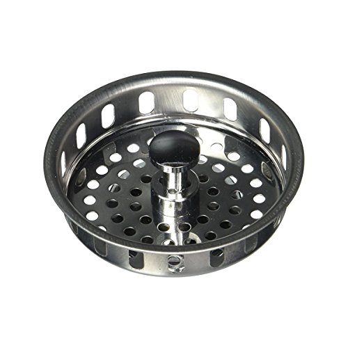 Everflow 75121 Kitchen Sink Basket Strainer Replacement for Standard Drains (3-1/2 Inch) Stainless Steel - With Spring Steel Closure and Rubber Stopper - 3 1/2 Kitchen Sink Strainer