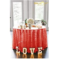 ShinyBeauty 72in Round Sequin Tablecloth/Wedding Beautiful Sequin Table Cloth/Overlay /Cover (Red)