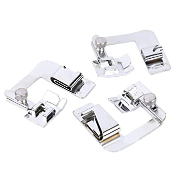 3x Hemmer Foot For Domestic Sewing Machines Snap on Presser 1//2 3//4 1