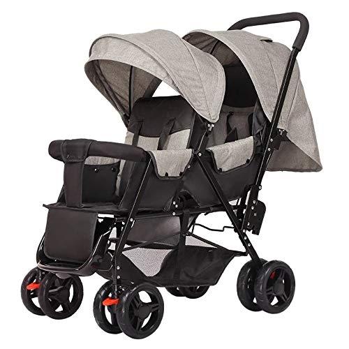 LQRYJDZ Double Stroller,Sitting Back and Forth Tandem Stroller, with Adjustable Backrest, Footrest, 5 Points Safety Belts, Foldable Design for Easy Transportation (Color : C)