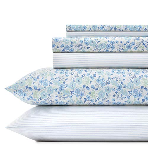 Laura Ashley Jaynie/Ticking Stripe Sheet Set, Queen, - Cotton Laura Sheets Ashley