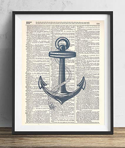 Blue Anchor Vintage Upcycled Dictionary Art Print 8x10 ()