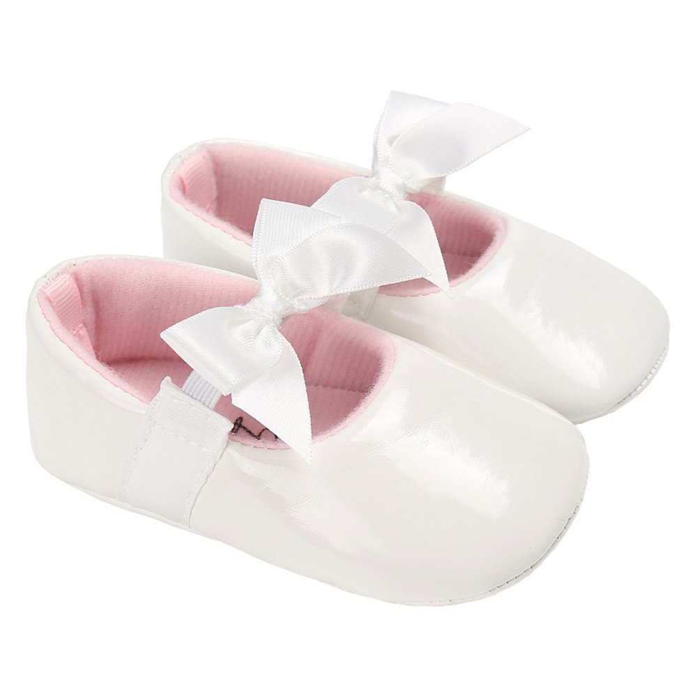Baby Girls Shiny Patent Leather Christening Baptism Mary Jane Princess Dress Flat Shoes with Bowknot White Size L