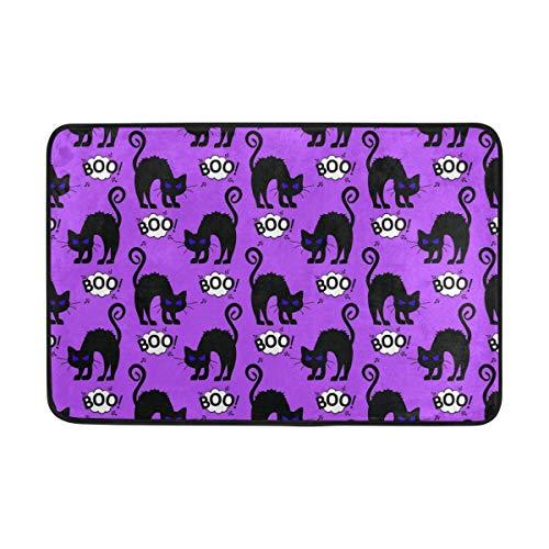 Jubenlcai Doormat Entrance Mat Floor Mat Rug Halloween Black Cat Non Slip Bathroom Mats 23.6x15.7 -