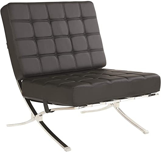 Armless Waffle Accent Chair Black