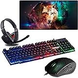 Kit Gamer Teclado Semi Mecânico + Headset + Mouse + Mouse Pad 70x35cm (Lobo)