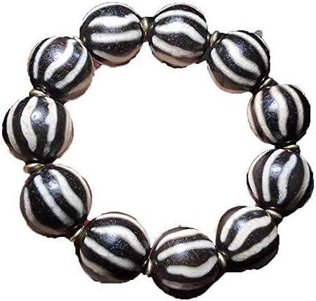 Collar de Moda para Mujer Pulsera de Perlas Perlas de patrón Blanco y Negro Pulido tallados a Mano Tíbet Pulsera Brazalete de melón Izar