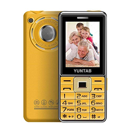 YUNTAB Easy to Use 2G Unlocked Cell Phone for Seniors, Kids and Hearing Difficulty Person, Big Button Big Fonts Big Volume, 2.4 inch Anti-Fall(Gold) (For Child Phone Cell)