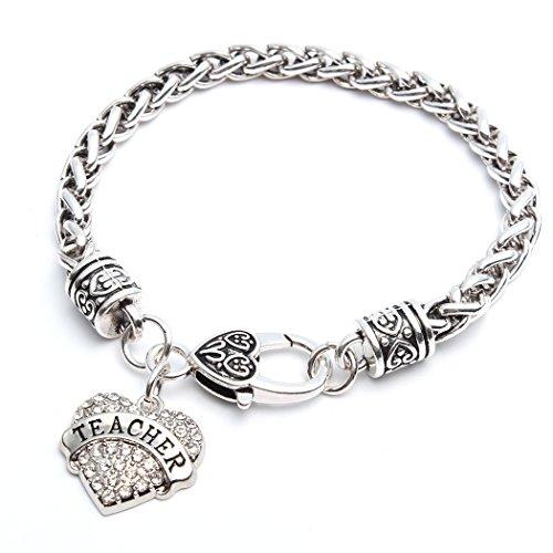Teacher Gifts Heart Bracelet Cuff Women Girl Charm - White Crystal Silver Jewelry
