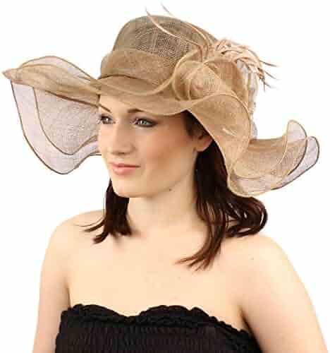SK Hat shop Romance Summer Kentucky Derby 5-1 2 Brim Layer Floppy Flower 0d4987253888