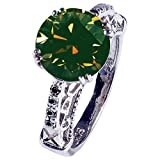 RINGJEWEL 4.14 ct VVS1 Round Moissanite Solitaire Silver Plated Engagement Ring Green Brown Color Size 7