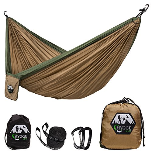 HYGGE Double Hammock Made of Premium Quality 210T Parachute Nylon – Lightweight Kit Includes 7075 Series Aluminum Wire Carabiners, Adjustable Triple Stitched Straps with Carrying Case, Exclusively