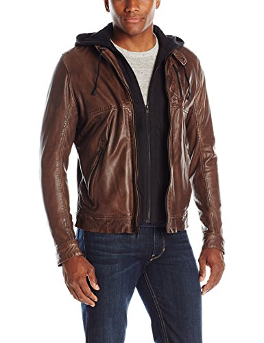 (LAMARQUE Men's Slayer Washed Lambskin Leather Biker Jacket with Removable French Terry Hoodie, Espresso, Small)
