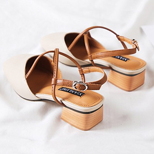 Dress Heel Toe Strap Work Mid Slingback Low Office Wedding Evening Party For Closed Women's Block Sandals Ankle Apricot fq8gCOHw