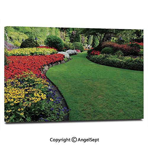 Modern Salon Theme Mural Curvy Border of Grasses and Flower Beds in Formal Garden Summer Days Landmarks Painting Canvas Wall Art for Home Decor 24x36inches,