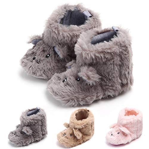 SEEYAN Baby Boy Girl Newborn Soft Fuzzy Fleece Snow Booties Infant Warm Winter First Walker Shoes (0-6 Months, Grey)