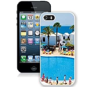 Fashionable Custom Designed iPhone 5S Phone Case With Holiday Village Flamingo Beach_White Phone Case