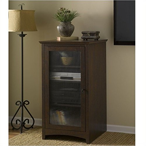 Pemberly Row Fluted Glass Audio Video Media Cabinet Bookcase in Madison Cherry by Pemberly Row