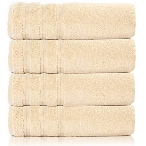 Silken Textile | Premium Towel Set 100% Turkish Cotton | 4 Pieces Bath Sets Towel for Hotel Bathroom Bridal Registry Dorm Home Essentials (Beige)