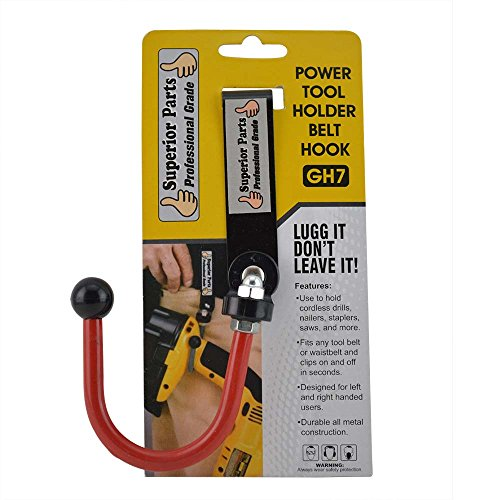 Bigg Lugg Power Tool Hooks - Superior Parts GH7 Hook Drill / Power Tool Holder with Metal Clip Belt Replaces Bigg Lugg BL1