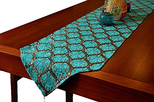 Gold Case Table Runner 69x14(175cm x 37cm) Luxury Peacock Series (Blue) ()