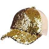VBIGER Women Baseball Cap Shiny Sequins Hip Hop Hat Chic Peaked Cap Breathable Outdoor Mesh Hat (Golden)