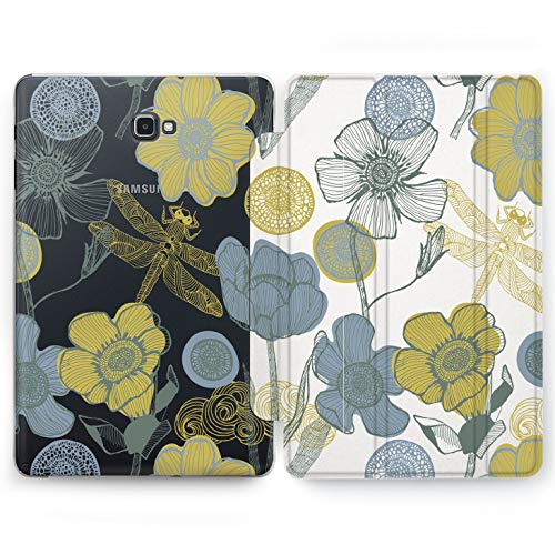 Wonder Wild Colorit Flowers Samsung Galaxy Tab S4 S2 S3 A E Smart Stand Case 2015 2016 2017 2018 Tablet Cover 8 9.6 9.7 10 10.1 10.5 Inch Clear Design Simple Floral Minimalist Dragonfly Artwork Enjoy -