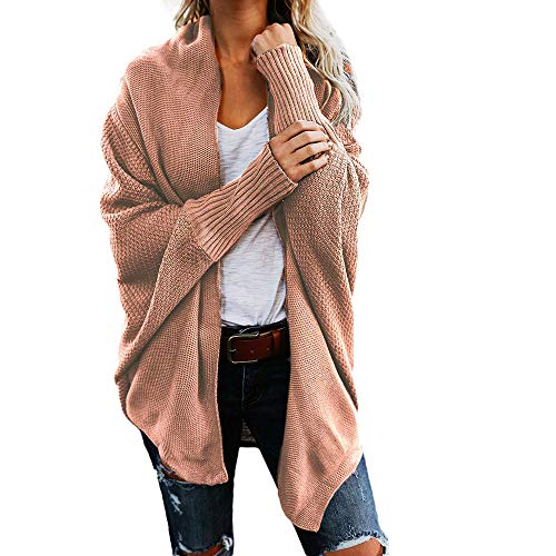 Womens Sweater Casual Knitted Loose Long Sleeve Pullover Coat Open Front Cardigan Pink