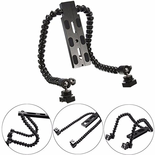 (Flexible Dual Arm Hot shoe Flash Bracket For CANON FOR NIKON For PENTAX for MACRO Digital Camera SLR easy to use)