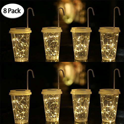 SunKite Solar Led Lights 15 LED Hanging Drink Cup Lanterns Dusk to Dawn Waterproof Transparent Plastic Cup Lights Jar Lids String Lights Decor for Patio/Lawn/Garden/Path 8 Pack(Warm - Lights Plastic Cup