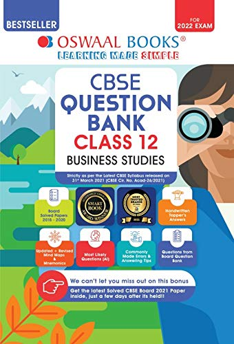 Oswaal CBSE Question Bank Class 12 Business Studies Book Chapterwise & Topicwise Includes Objective Types & MCQ's (For 2022 Exam) Paperback – 15 April 2021
