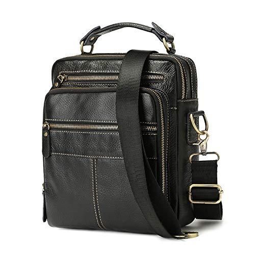 BAIGIO Men's Genuine Leather Shoulder Bag Vintage Cross-body Messenger Bags Multi-pocket Purse Soft Black Handbag ()