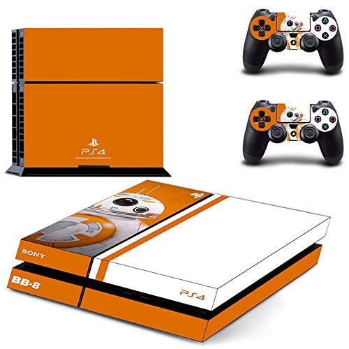 CAN® Ps4 Console Designer Protective Vinyl Skin Decal Cover for Sony Playstation 4 & Remote Dualshock 4 Wireless Controller Stickers - Star Wars BB-8 (Bb Faceplate)