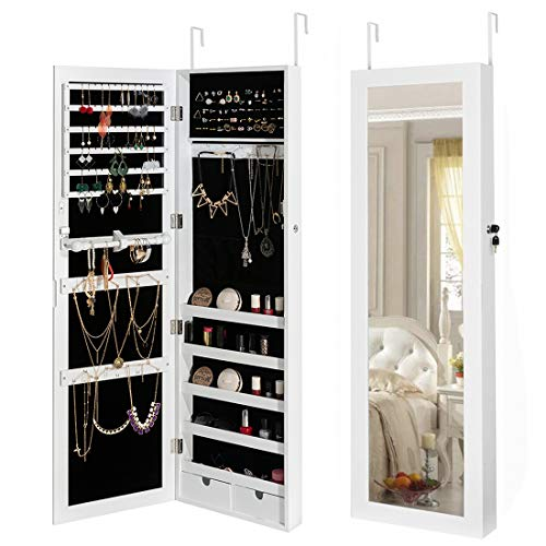 HollyHOME Jewelry Cabinet Lockable Wall Door Mounted Organizer Storage with Mirror White (Wall Box Frame Jewelry)