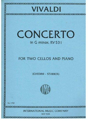 Cello Concerto Sheet Music - Vivaldi - Concerto in G minor for Two Cellos and Piano (No. 1782)