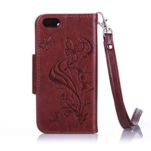 Für Apple iPhone 5 5G 5S / iPhone SE (4 Zoll) Tasche ZeWoo® Ledertasche Strass Hülle PU Leder Schutzhülle Glitzer Case Cover - L067 / Schmetterlinge (braun)