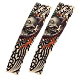 Scary Skull Prints Sun Protect Fake Temporary Tattoo Arm Sleeves 2 Pcs