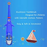 Hermano Kids Electric Toothbrush, Battery Powered Electronic Sonic Toothbrush with 4 Replacement Heads for Children, Blue