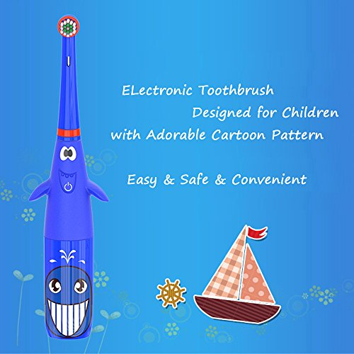 Hermano Kids Electric Toothbrush, Battery Powered Electronic Sonic Toothbrush with 2 Replacement Heads for Children, Blue by Hermano (Image #1)